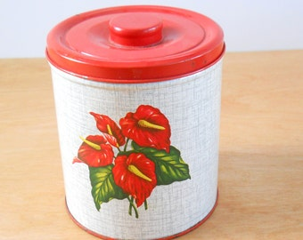 Vintage Kitchen Canister • Decoware Canister • Mid Century Metal Canister • Red and Grey Anthurium