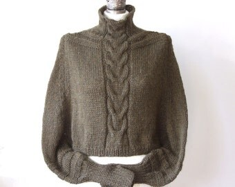 Braided CAPE with sleeves SHRUG avant garde hand knitted, deep khaki green shrug, woodland cropped sweater, made to order shrug
