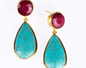 Turquoise and red jade gold vermeil sterling silver earrings