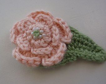 Crochet Cotton Flower Pin in Peach with Tiny Pearls