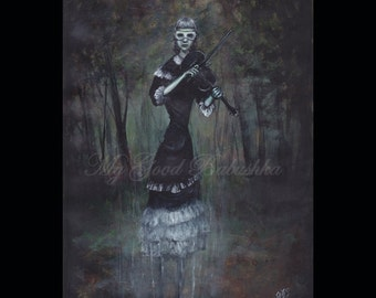Song by a Ghost, Original Painting, Forest, Dark, Macabre, Violin, Music, Musician, Surreal, Mask, Child, Girl, Woods, Fairy Tale, Folk Tale