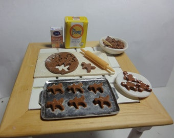 Miniature Making Gingerbread Cookies Scene