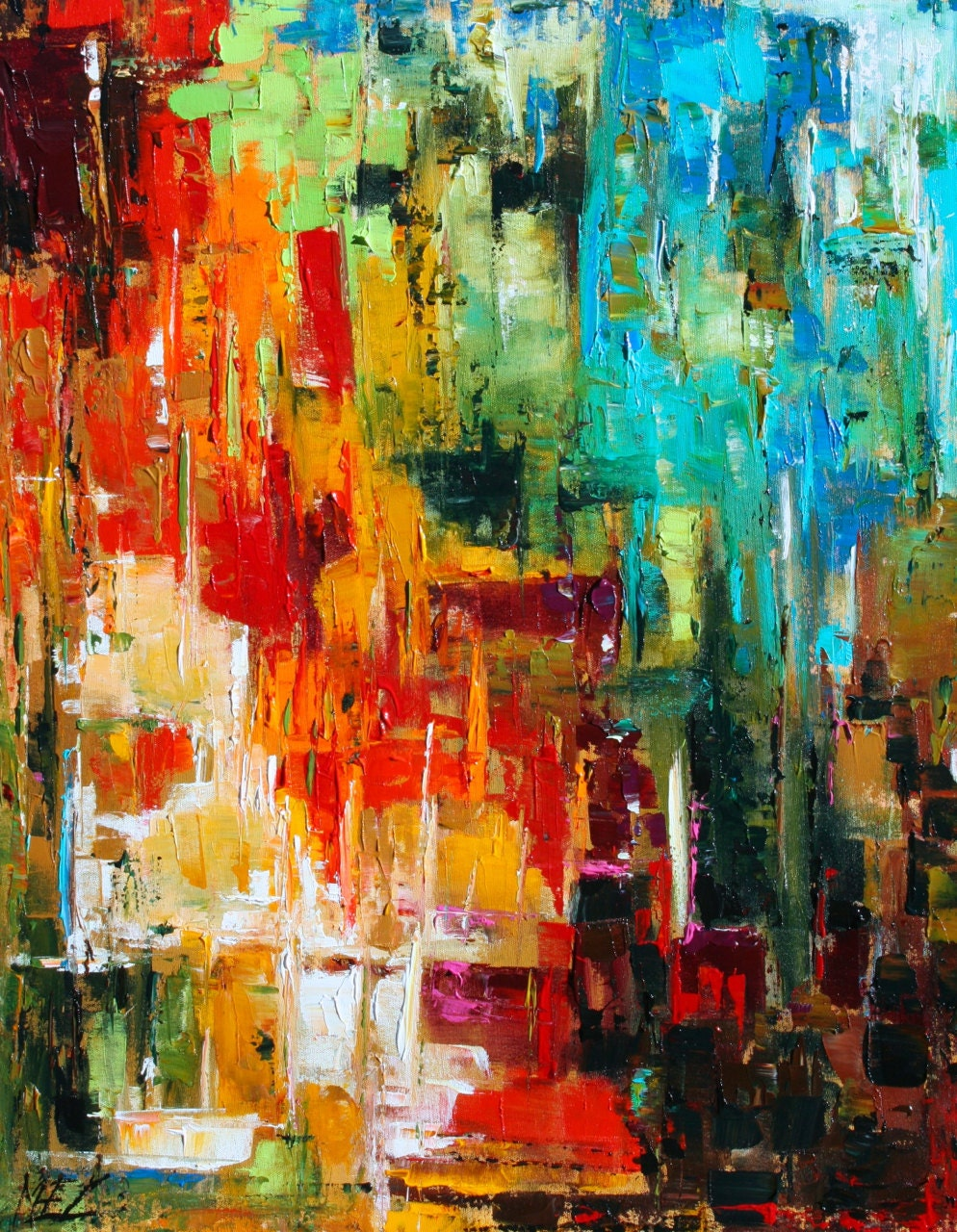 custom order abstract palette knife original by