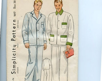 "1930s or 40s  Simplicity Pattern 1617 Men's 2 Piece Pajamas, with Neck Collar Variations Chest 38"" Unused in Original Factory Folds"