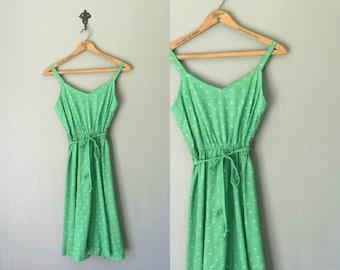 Vintage LADY CAROL Dress •1970s Clothing • Light Green Paisley Print Sleeveless Belted Sundress Midi Mid Length Skirt •Women Small Medium