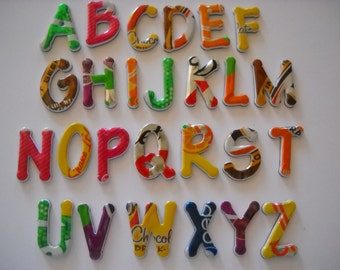 Recycled Magnetic Alphabet  Made From Recycled Soda Can