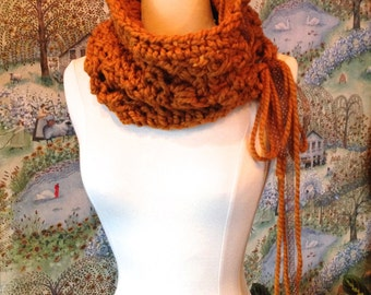 Chunky Cowl Crochet Pattern, The Butterscotch Cowl, Oversized Neckwarmer, DIY with buttons or ribbon
