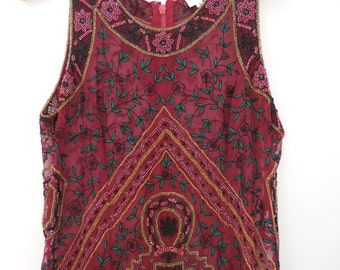 Vintage beaded and embroidered Silk top Small