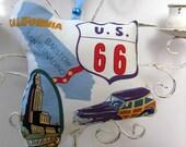 Route 66 California Ornament / Lavender Sachet / Red White Blue / Barstow - San Bernardino - Los Angeles / Gift Under 15