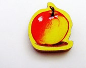 APPLE Brooch - Lapel Pin / Red Fruit / Red, Yellow Wood Brooch / Upcycled 1960s Wood Puzzle Piece / School Teacher Gift / Gift Under 15