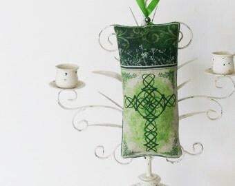 Celtic Cross Ornament / Beige, Irish Green Home Decor / Doorknob Adornment / Unique St. Patrick's Day Gift Under 25