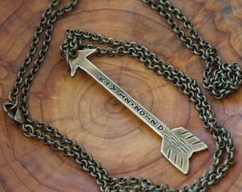 Custom Brass Arrow Necklace & Chain E0380a