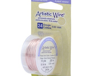 Artistic Wire 24 Gauge Silver Plated Rose Gold 43125 Dispenser 10yd Round Wire, Jewelry Wire, Craft Wire, Silver Plated Wire, Wire Wrapping
