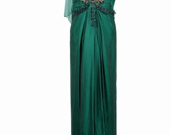 ODICINI COUTURE VINTAGE Green Silk maxi dress Gown w/ Embellished Bustier is