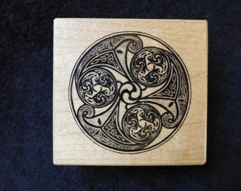 Celtic Earth Triple Spiral PSX Rubber Stamp