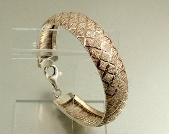 Vintage Sterling Silver Snake Bracelet Snake Skin Snake Band Snake Link Diamond Cut Textured Silver Singed Italy Italian Silver 7.5 Inches