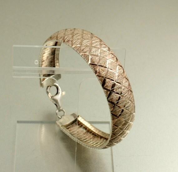 Vintage Italian 925 Silver Snake Link Diamond Cut Bracelet