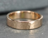 18K Rose Gold Mens Wedding Band, 5mm Wide Ring, Hammered, any size available, Sea Babe Jewelry