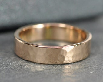 Rose Gold Ring, Hammered 18K Gold Band, 5mm, Eco Friendly Recycled, Sea Babe Jewelry