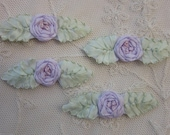 4pc Vintage Chic ORCHID LAVENDER  Silk Ribbon Embroidered Spider Rose Flower Applique Christening Gown Baby Doll Hair Bow