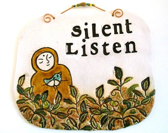 Jizo In The Peace Meditation Garden Plaque Wall Hanging - HandMade Carved Bodhisattva Letterpres Stamped SILENT LISTEN BlueBird of Happiness