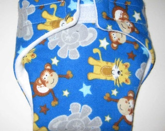 Baby Doll Cloth Diaper/Wipe-Circus Animals-Fits Bitty Baby, Baby Alive, Cabbage Patch, American Girl Dolls and More