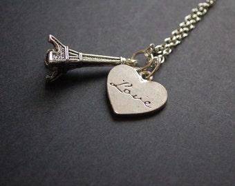 Silver tone Love Paris necklace