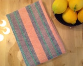 Handwoven Cotton dish towel twill stripe peach lavender blue green