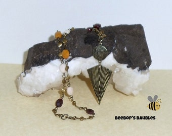 Tribal Antique Brass & Faceted Mookaite Jasper BOHO Style Necklace