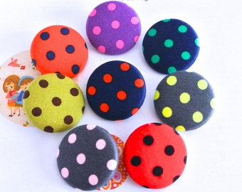 "Handmade Large Red Blue Green Gray Yellow Purple Polka Dots Fabric Covered Buttons, Flat Backs CHOOSE COLOR, 1.5"" 5's"
