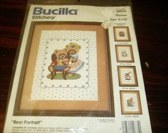 Crewel Embroidery Kit Bear Portrait Bucilla Stitchery Kit 49635 Sealed and Ready to stitch