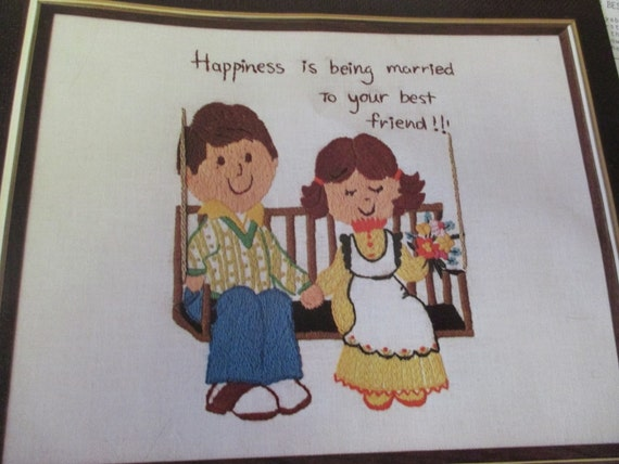 Crewel embroidery kit married to your best by classystitches