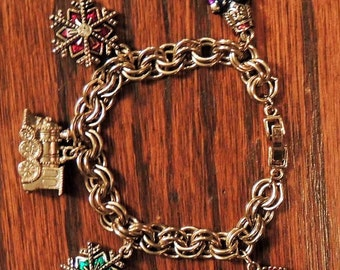 Holiday charm bracelet gold-tone with enamel charms