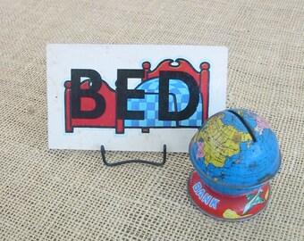 Vintage Flash Card Game Word Bed Bath Child Nursery Decor Ephemera