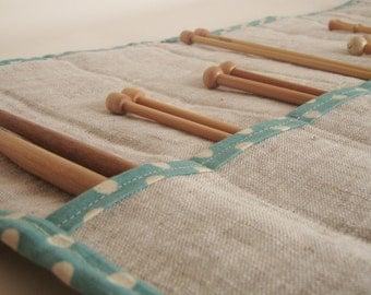 Linen Knitting Needle Case - Knitting Needle Roll - Knitting Needle Holder - Gift for Knitter