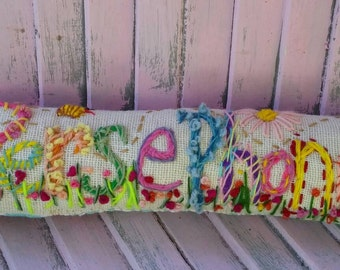 Freehand Embroidered Bohemian Letters Name Pillow Custom Made TEN Letters