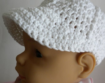 Crocheted Baby Hat, Baby Boy Hat, Christening Hat, Newsboy Hat, Photo Prop Hat, Crocheted Brimmed Baby Hat, White Crochet Baby Hat,