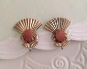 Art Deco Vintage Clip Earrings, Sparkling Orange Cabochon Stone, Gold tone Brass Fan Design, 1 inch vintage earrings, 60s 1960s jewelry