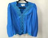Cerulean Blue Vintage Blazer 80s Formal Spring Jacket Frilly Lace Trim Lacy Collar Crystal Buttons Puffed Sleeve Shoulderpads 8 blue jacket