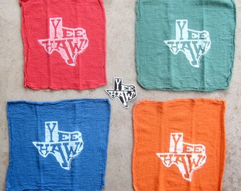 4 Shop Rags • Texas • Yee-Haw! • FREE STICKER! • Art by Brian Phillips • Ranch Rags