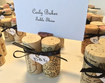 Wine Cork Place Card Holders Your Initials & Color Ribbon for Wedding Rehearsal Dinner Anniversary Party
