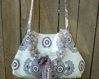 boho chic handbag, cross body bag, hobo handbag, bohemian bag, gypsy handbag, hippie purse, shabby cottage chic bag, retro print bag