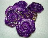 Purple Painted Drawbench Flower Beads (Qty 6) - B2650