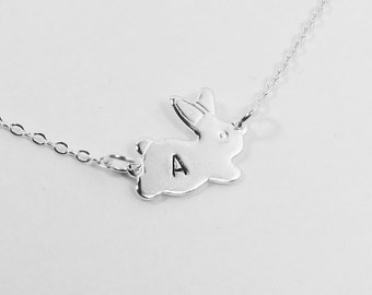 Bunny Rabbit Hopping Necklace - Personalized Initial (T5)