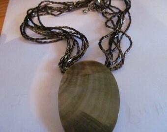 shiny beaded necklace with shell
