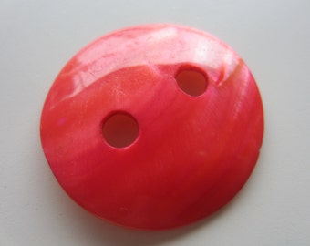 Vintage Buttons - 1 beautiful extra large 2 inch, dyed pink mother of pearl heavy weight, very old, (mar 339)