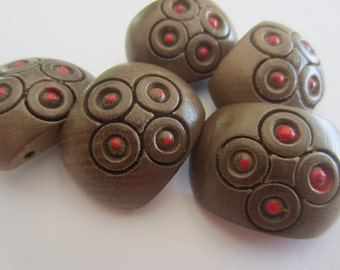 Vintage Buttons - lot of 5 large matching  carved wood toggles, with red painted accent, 1940-1950's ( apr 47)