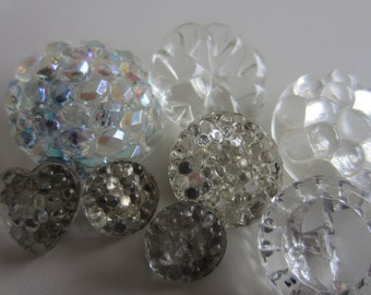 Vintage Buttons - lot of clear with some reverse painted Depression glass, assorted faceted novelty styles cut glass, lot of 8 (apr 294)