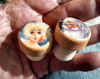 Wood Topped Wine Bottle Stoppers ~He Knows Who's Been Nicely Naughty