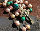 Pearl and turquoise Prayer Bead Necklace  Anglican Rosary  \\ Protestant Prayer Bead Necklace  orig 84 dollars now 42 sale